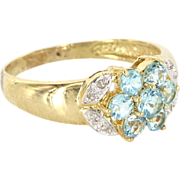 Estate 14 Karat Yellow Gold Diamond Blue Topaz Cluster Flower Ring Fine Jewelry