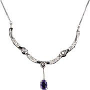 Estate 14 Karat White Gold Diamond Amethyst Cocktail Convertible Necklace
