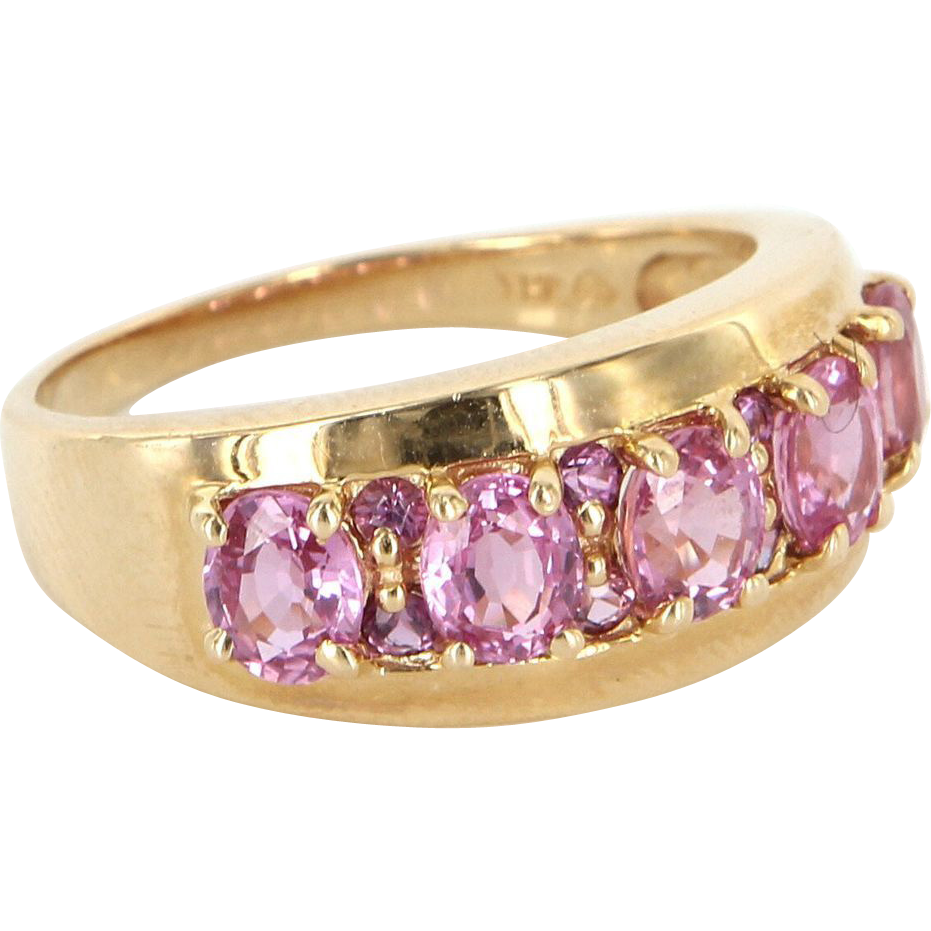 Vintage 14 Karat Yellow Gold Pink Tourmaline Anniversary Stack Ring Estate