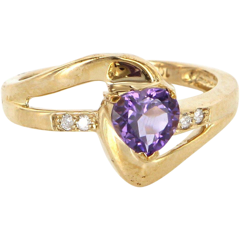 Estate 10 Karat Yellow Gold Diamond Amethyst Heart Right Hand Ring Fine Jewelry