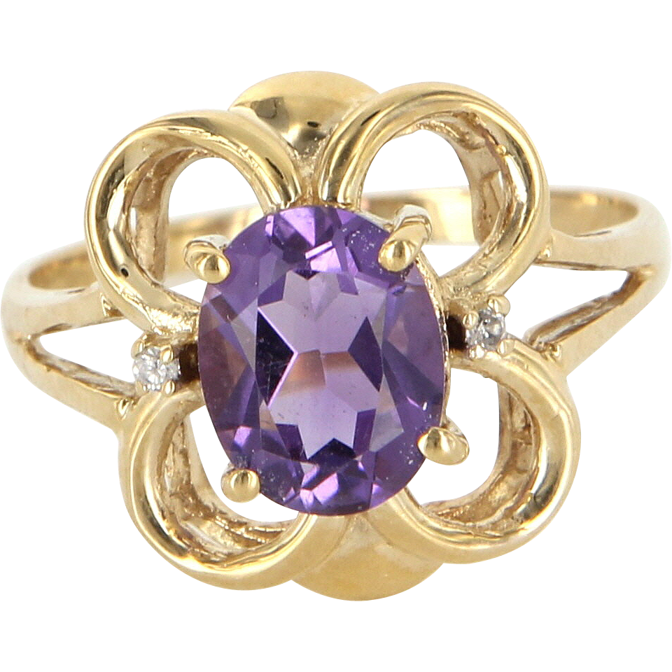 Vintage 14 Karat Yellow Gold Amethyst Diamond Cocktail Ring Fine Estate Jewelry