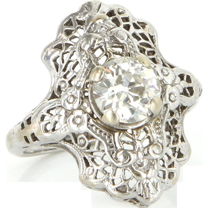 Art Deco 14 Karat White Gold Diamond Filigree Engagement Ring Vintage Jewelry