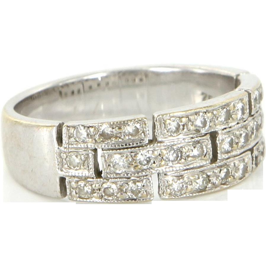 Vintage 18 Karat White Gold Diamond Greek Key Pattern Stack Band Ring Estate