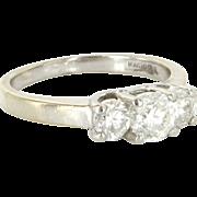 Estate 14 Karat White Gold 900 Platinum Diamond Three Stone Ring Fine Bridal Jewelry