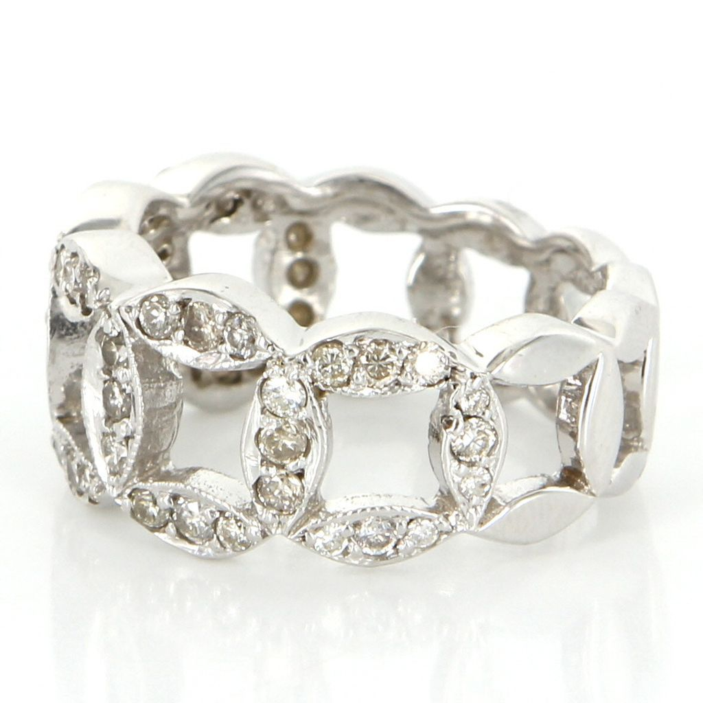 Vintage 14 karat white gold diamond circle stack ring fine for 14 karats fine jewelry