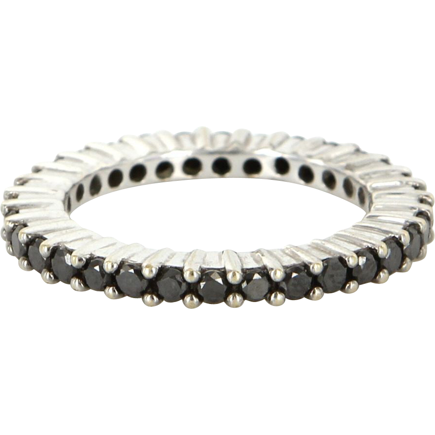 Estate 18 Karat White Gold Black Diamond Eternity Stack Ring Fine Jewelry Sz 6