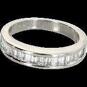 0.75ct Emerald Cut Diamond Band Estate 14 Karat White Gold Fine Vintage Jewelry Sz 6