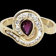 Ruby Diamond Ring Vintage 14 Karat Yellow Gold Estate Fine Jewelry Heirloom