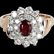 Ruby Diamond Princess Cocktail Ring Vintage 10 Karat Yellow Gold Estate Fine Jewelry