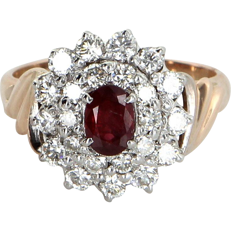 Ruby Diamond Princess Cocktail Ring Vintage 10 Karat Yellow Gold Estate Fine Jewelry