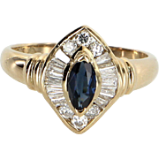 Sapphire Diamond Cocktail Ring Vintage 14 Karat Yellow Gold Estate Fine Jewelry