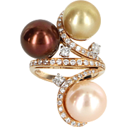 Cultured South Sea Tahitian Pearl Diamond 18 Karat Rose Gold Vintage Ring Fine Estate Jewelry