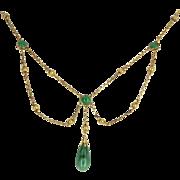 Jadeite Jade Drop Necklace Vintage 14 Karat Yellow Gold Estate Fine Jewelry Heirloom