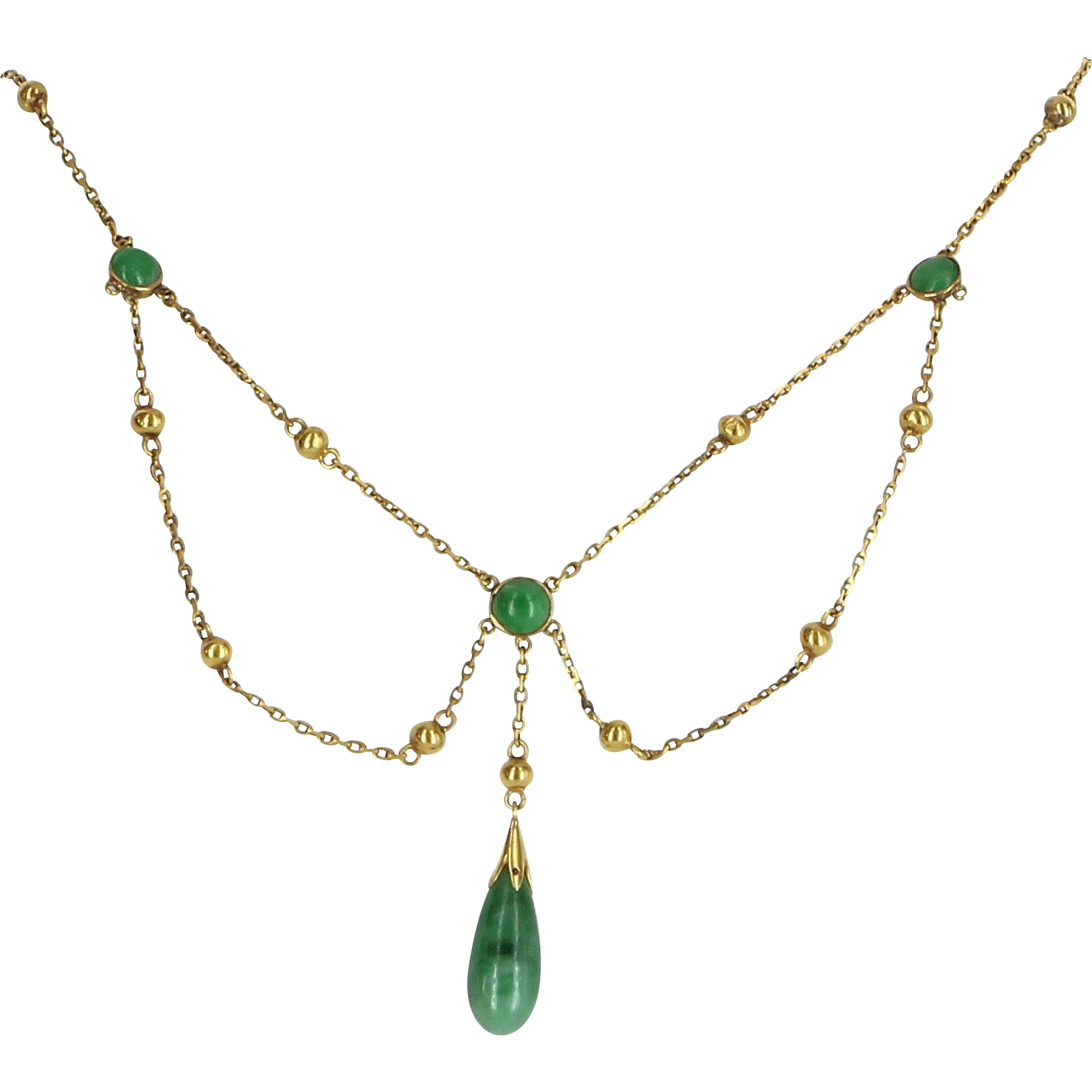 Jadeite Jade Drop Necklace Vintage 14 Karat Yellow Gold Estate Fine Jewelry Heirloom