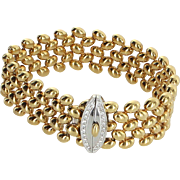 18 Karat Yellow Gold Diamond Weave Bracelet Vintage Fine Jewlery Pre Owned Estate