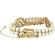 Cultured Pearl Vintage Rope Bracelet 14 Karat Yellow Gold Estate Fine Jewelry 7""