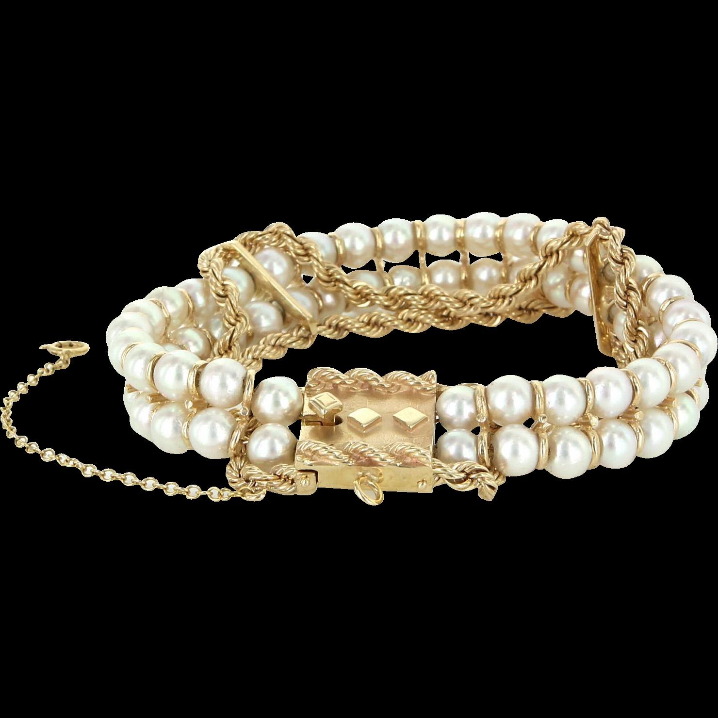 "Cultured Pearl Vintage Rope Bracelet 14 Karat Yellow Gold Estate Fine Jewelry 7"""
