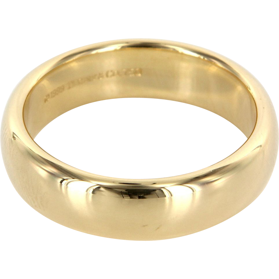 Estate designer tiffany co 18 karat yellow gold lucida for Tiffany mens wedding ring