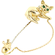 Cat & Mouse Brooch Vintage 18 Karat Gold Pink Diamond Emerald Fine Animal Jewelry