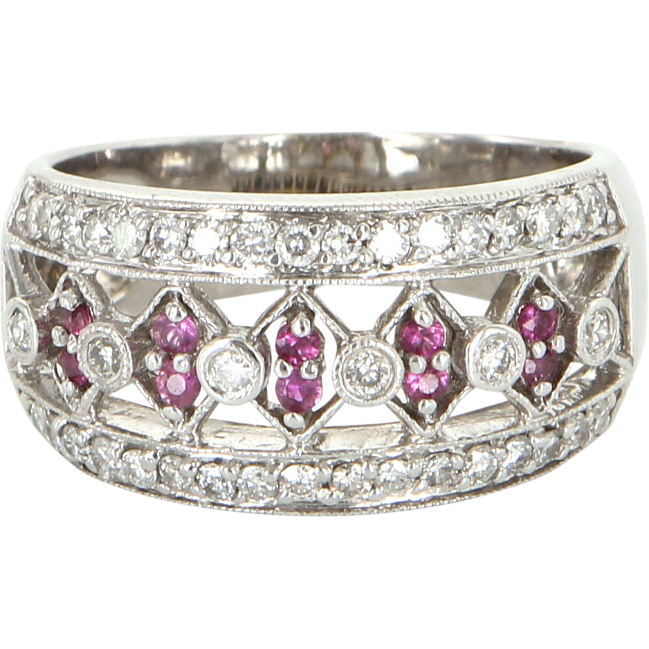 Vintage Diamond Ruby Band Ring 14 Karat White Gold Estate Fine Jewelry Heirloom
