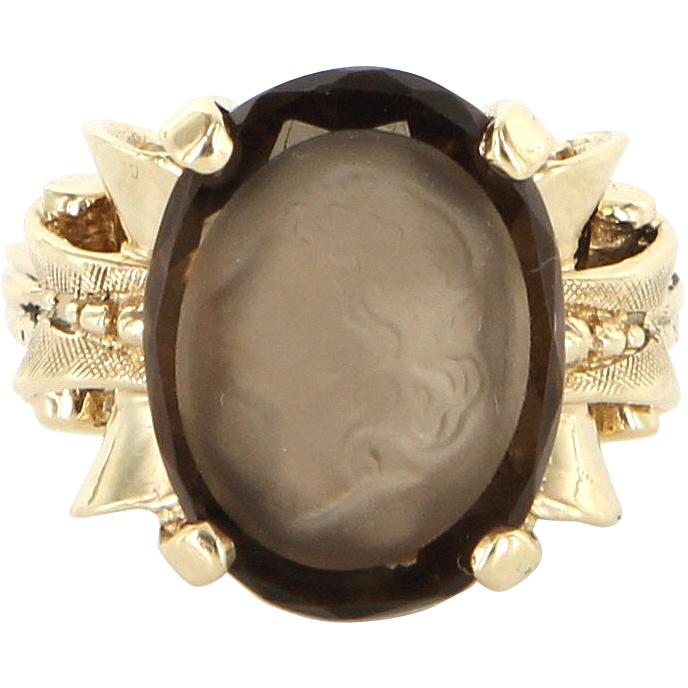 Vintage 10 Karat Yellow Gold Smokey Quartz Intaglio Cameo Cocktail Ring Estate