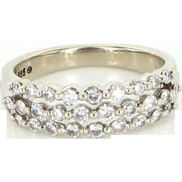 Vintage 14 Karat White Gold Diamond Three Row Band Ring Fine Estate Jewelry