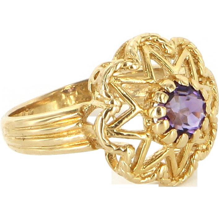 Vintage 14 Karat Yellow Gold Amethyst Star Cocktail Ring Fine Estate Jewelry