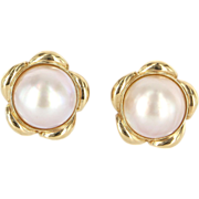 Vintage 14 Karat Yellow Gold Mabe Pearl Button Cocktail Earrings Fine Jewelry