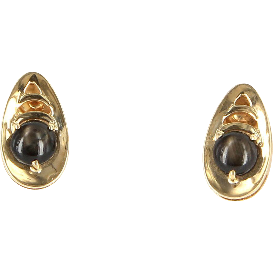 Vintage 14 Karat Yellow Gold Black Star Sapphire Small Cocktail Earrings Estate