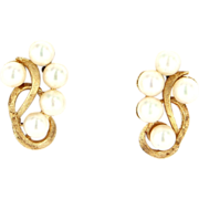 Vintage 14 Karat Yellow Gold Cultured Pearl Cocktail Clip Earrings Fine Jewelry