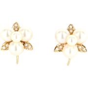 Vintage 14 Karat Yellow Gold Cultured Pearl Cluster Earrings Fine Estate Jewelry