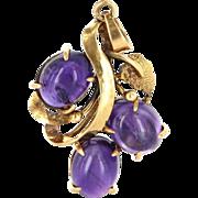 Vintage 14 Karat Yellow Gold Amethyst Drop Pendant Fine Estate Jewelry