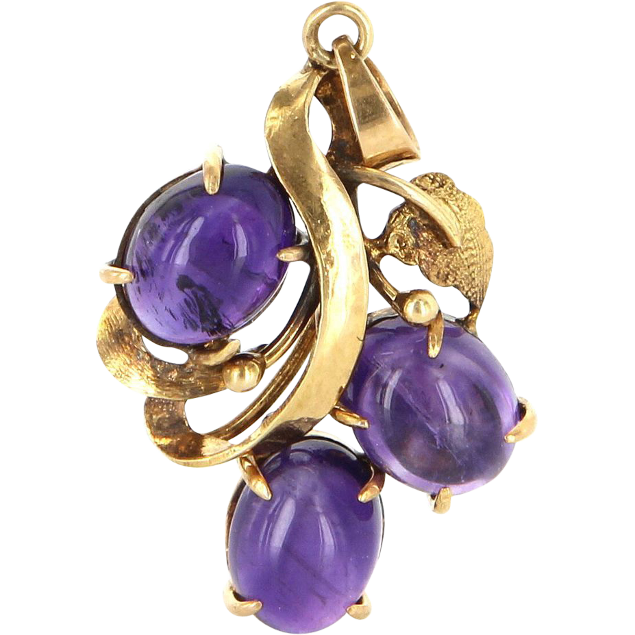 Vintage 14 Karat Yellow Gold Amethyst Drop Pendant Fine Estate Jewelry