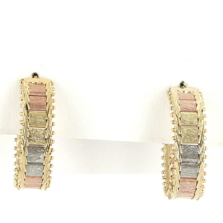 Vintage 14 Karat Tri Gold Hoop Earrings Fine Estate Jewelry Pre-Owned