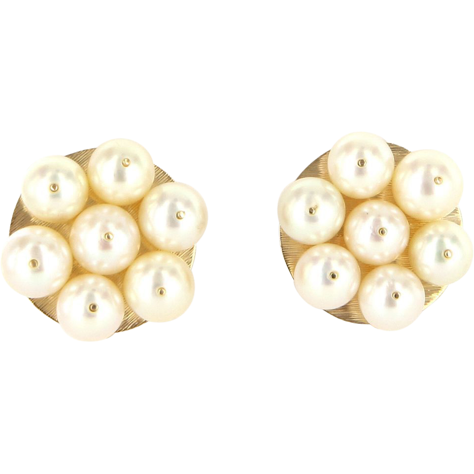 Vintage 14 Karat Yellow Gold Cultured Pearl Cluster Cocktail Earrings Estate