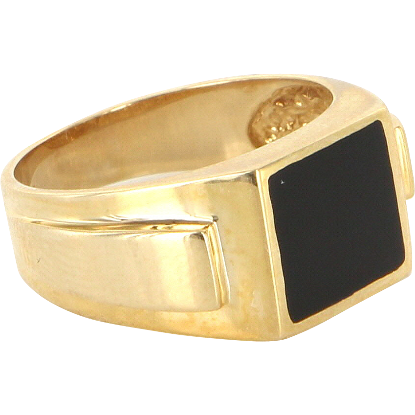 Vintage 14 Karat Yellow Gold Inlaid Onyx Mens Cocktail Ring Fine Estate Jewelry