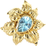Vintage 14 Karat Yellow Gold Blue Topaz Diamond Large Cocktail Leaf Brooch Pin