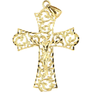 Vintage 14 Karat Yellow Gold Religious Cross Pendant Fine Estate Jewelry