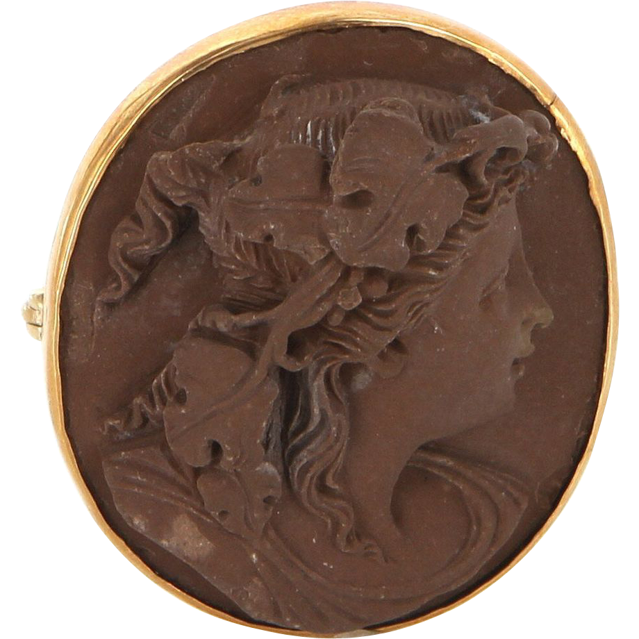 Victorian 14 Karat Rose Gold Lava Cameo Portrait Of Woman Brooch Pin Vintage