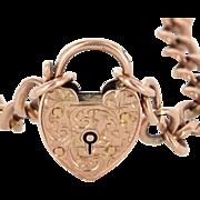 Antique Edwardian c1904 9 Karat Rose Gold Curb Link Choker Heart Locket Necklace