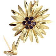 Vintage 18 Karat Yellow Gold Amethyst Large Flower Brooch Pin Fine Jewelry