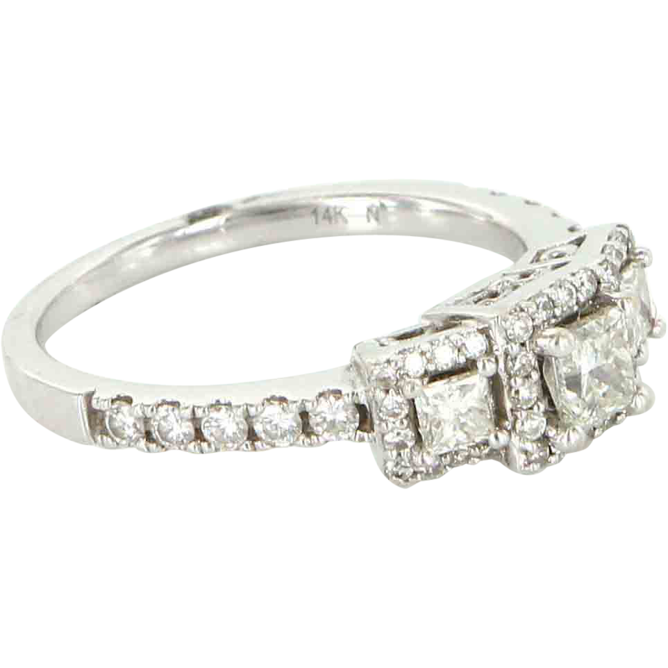 Estate 14 Karat White Gold Diamond Three Stone Past Present Future Ring