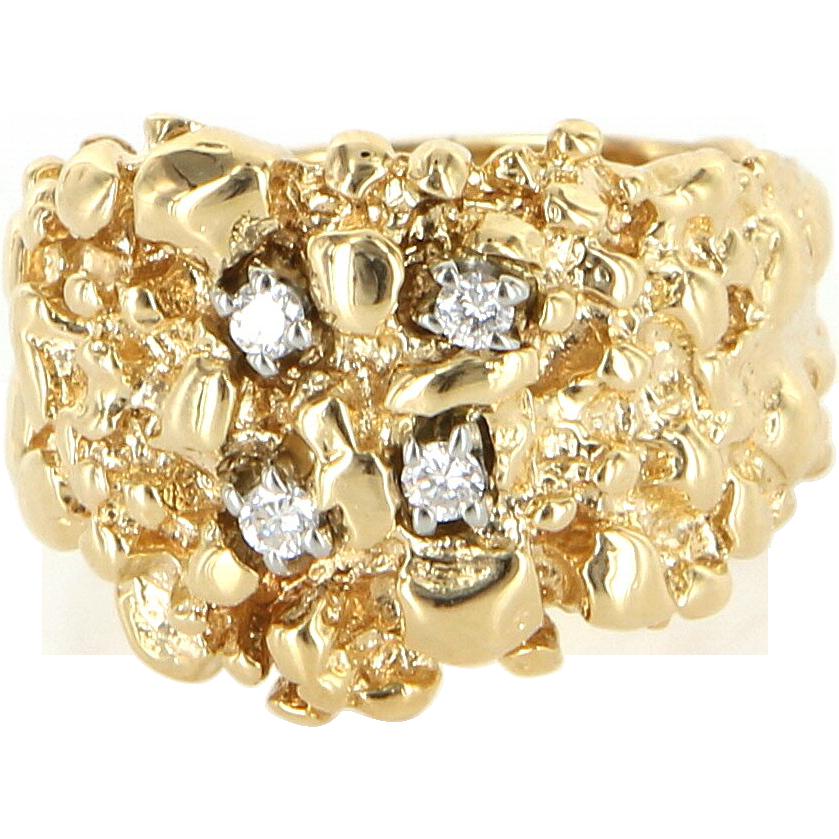 Vintage 14 Karat Yellow Gold Diamond Nug Wide Band Ring Fine