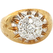 Vintage 14 Karat Yellow Gold Diamond Dome Cocktail Ring Fine Estate Jewelry