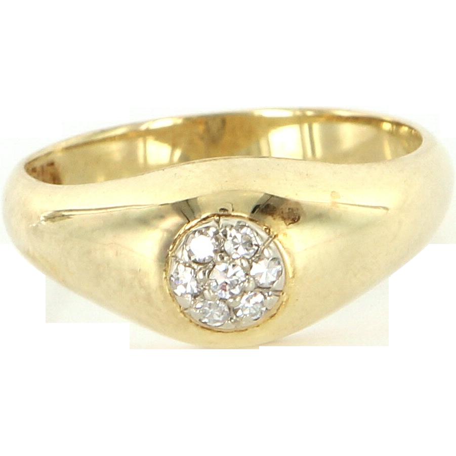 Vintage 14 Karat Yellow Gold Diamond Small Cluster Stack Band Ring Estate