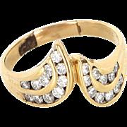 Vintage 14 Karat Yellow Gold Diamond Cocktail Ring Fine Estate Jewelry