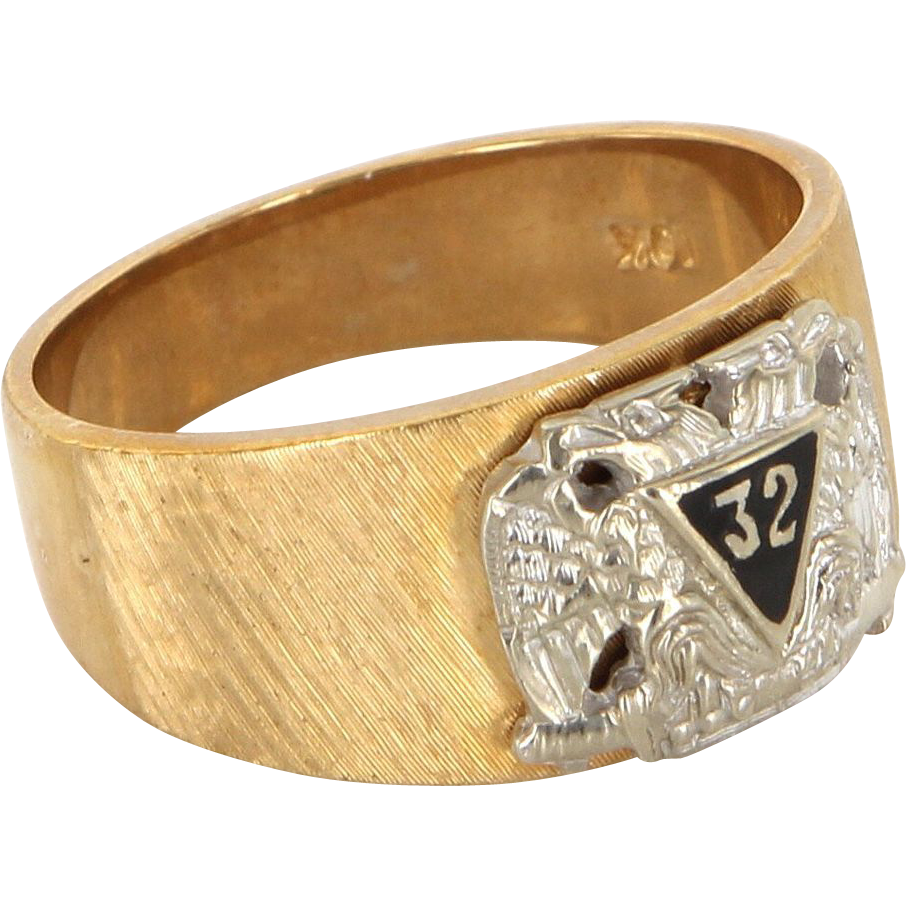 Vintage 10 Karat Yellow Gold Masonic 32nd Degree Scottish Rite Fraternal Ring