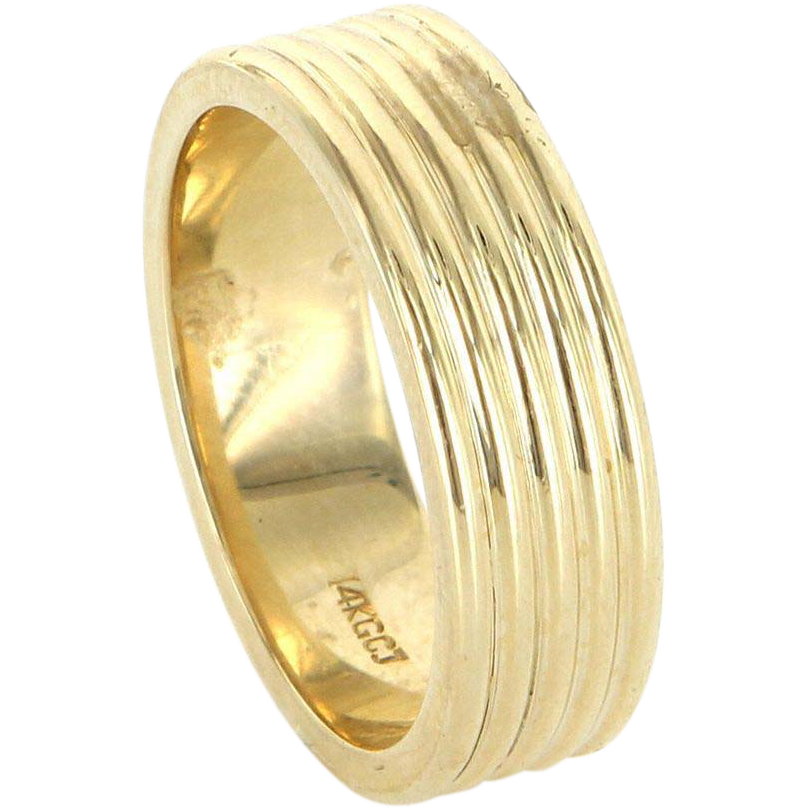 Vintage 14 Karat Yellow Gold Mens Wedding Band Ring Fine Estate Jewelry Sz 10