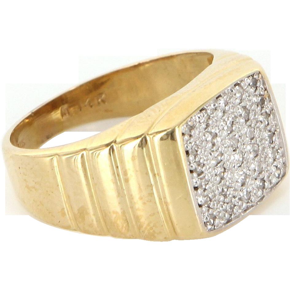 Vintage 14 Karat Yellow Gold Diamond Mens Dress Ring Fine Estate Jewelry