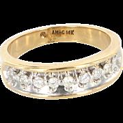 Vintage 14 Karat Yellow Gold Diamond Wedding Band Ring Fine Estate Jewelry